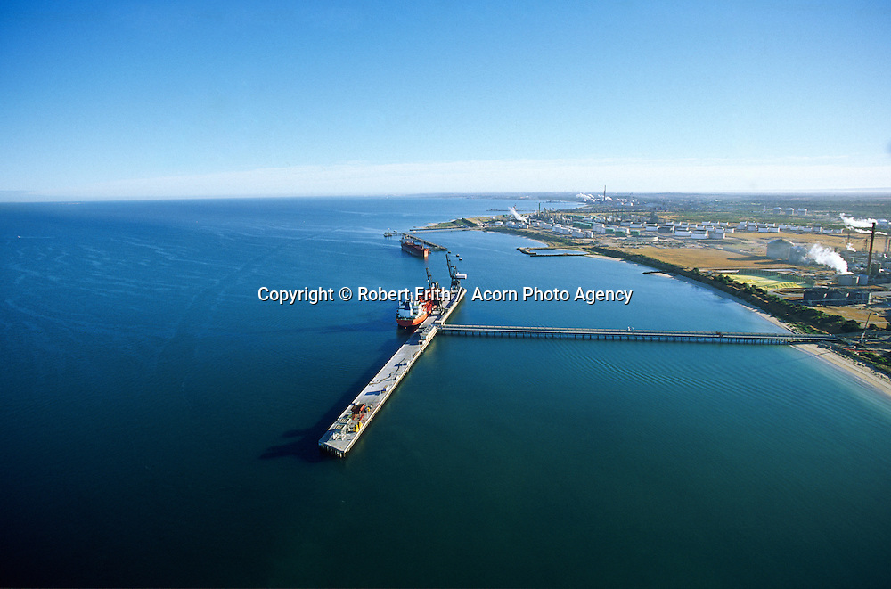 Aerial view of the bulk grain terminal and ship being loaded at Kwinana.. aerial view of ship being loaded at bulk grain terminal, Kwinana