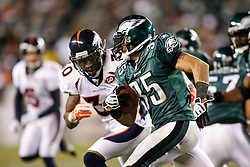 Philadelphia Eagles cornerback Macho Harris #35 carries a kickoff return during the NFL game between the Denver Broncos and the Philadelphia Eagles on December 27th 2009. The Eagles won 30-27 at Lincoln Financial Field in Philadelphia, Pennsylvania. (Photo By Brian Garfinkel)