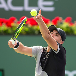 March 09, 2018: Ernesto Escobedo (USA) serves as he defeated Frances Tiafoe (USA) 7-5, 6-3 at the BNP Paribas Open played at the Indian Wells Tennis Garden in Indian Wells, California. ©Mal Taam/TennisClix/CSM/Sipa USA(Credit Image: © Mal Taam/CSM/Sipa USA)