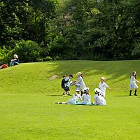 Europe, Ireland, Dublin. Irish school children in park in Dublin.
