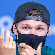 TOKYO, JAPAN - JULY 19: Australian skateboard competitor Shane O'Neill speaks to the media during a Press Conference in the Main Press Centre ahead of the Tokyo 2020 Olympic Games on July 19, 2021 in Tokyo, Japan. (Photo by Tim Clayton/Corbis via Getty Images)