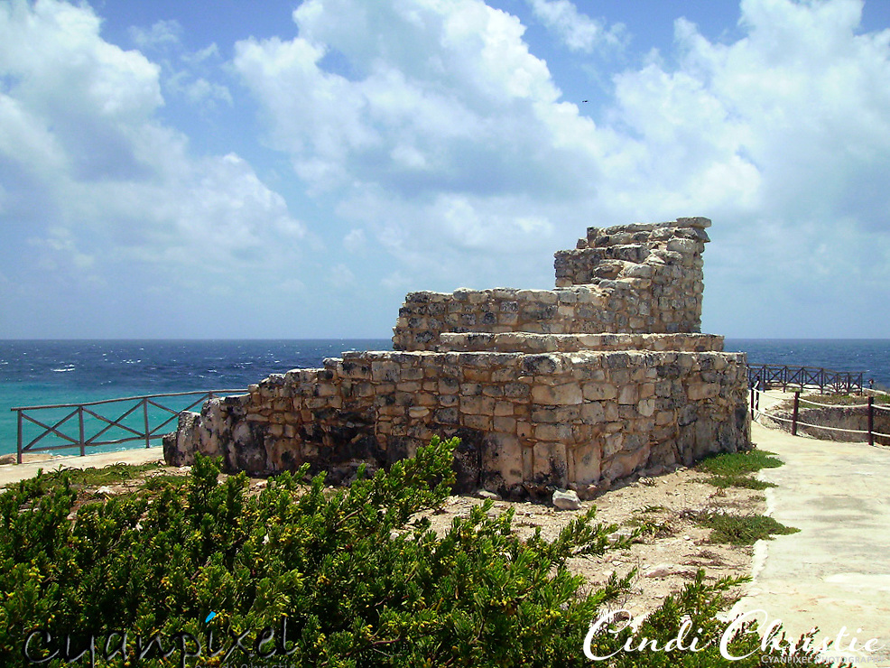 The Temple of Ixchel, at the southern tip of Isla Mujeres, Mexico, honors the Mayan goddess of the moon and childbirth. Built centuries ago, it is in ruins on May 25, 2007. (© 2007 Cindi Christie)