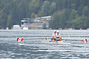 Bled, SLOVENIA.  CAN W2X, Bow Carolyn GANES and Larissa LAZDINS, start. Heats  First Day.  2011 FISA World Rowing Championships, Lake Bled. Sunday  28/08/2011  [Mandatory Credit; Peter Spurrier/ Intersport Images]   Adaptive.