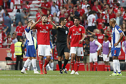 October 7, 2018 - Lisbon, Portugal - Haris Seferovic of Benfica (L)  celebrates his goal  during the Portuguese League football match between SL Benfica and FC Porto at Luz Stadium in Lisbon on October 7, 2018. (Credit Image: © Carlos Palma/NurPhoto/ZUMA Press)