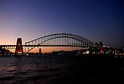 Sydney Harbour Bridge just after sunset. Sydney, Australia