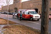 Paramedics on sight of car accident fire.  St Paul Minnesota USA