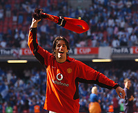 Ruud Van Nistelrooy Manchester United celebrates after final whistle<br /> Manchester United v Millwall F/A Cup Final 22/05/04<br /> Photo Robin Parker Fotosports International