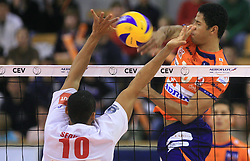 Eden Luri De Sousa Sequeira vs Delano Thomas of ACH Volley at volleyball match of CEV Indesit Champions League Men 2008/2009 between ACH Volley Bled (SLO) and Beauvais Oise (FRA), on December 11, 2008 in Hala Tivoli, Ljubljana, Slovenia. (Photo by Vid Ponikvar / Sportida)