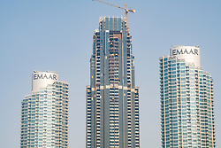 Luxury high rise apartment building under construction in Downtown Dubai , UAE, United Arab Emirates