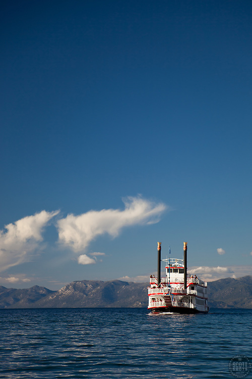 """""""M.S. Dixie II on Lake Tahoe 2"""" - This famous paddlewheel boat was photographed entering Emerald Bay, Lake Tahoe."""