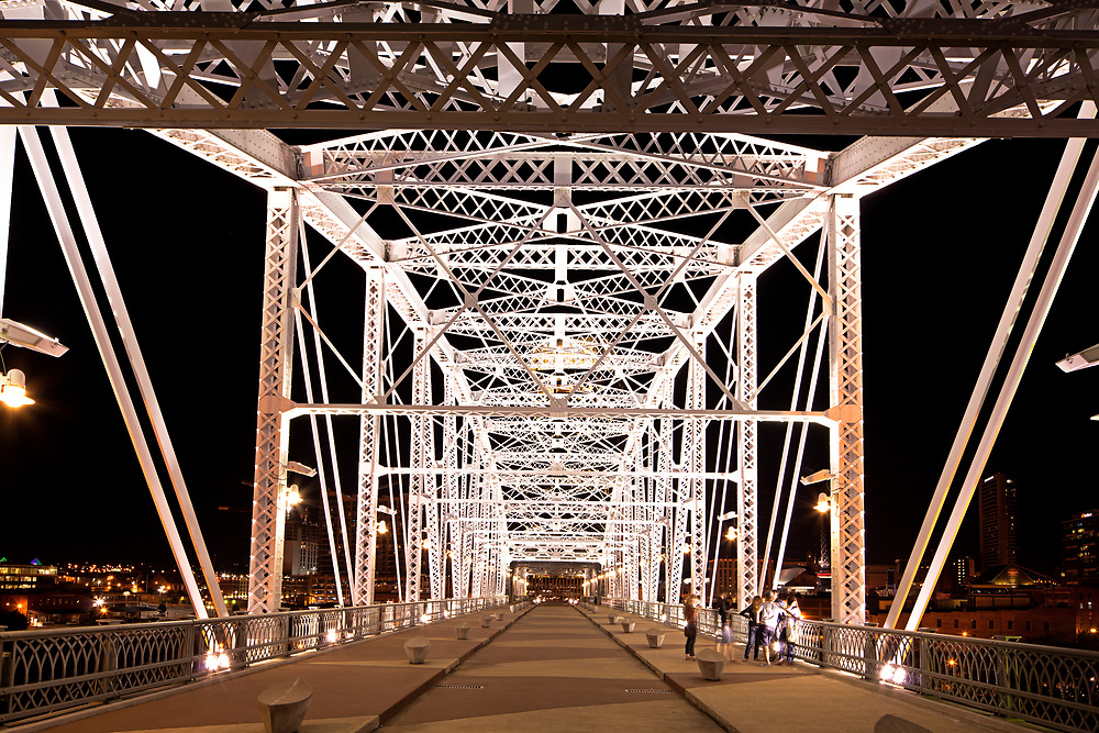 Shelby Street Pedestrian Bridge at night , Nashville Riverfront