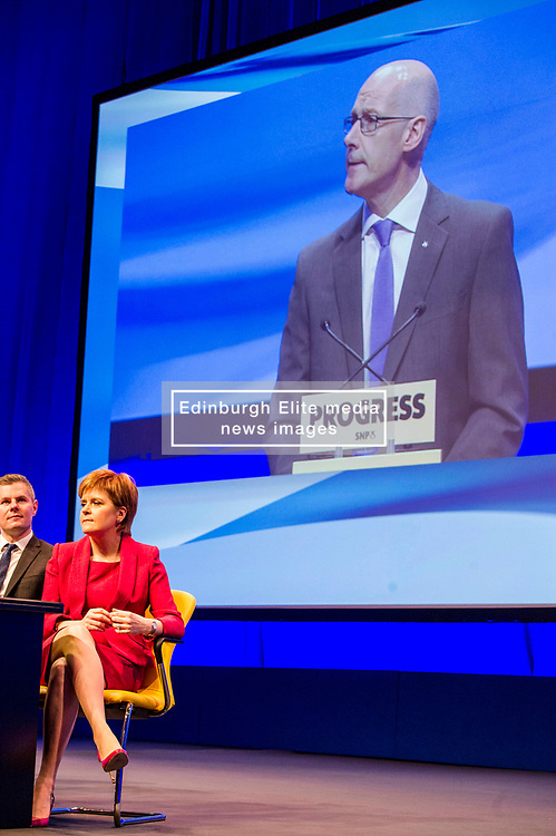 Pictured: Derek Mackie, MSP , Cabinet Secretary for Finance and the Constitution, Nicola Sturgeon, First Minister; John Swinney, Deputy First Minister<br /> The members of the SNP gathered in the Scottish Events Centre in Glasgow for their annual conference.<br /> <br /> Ger Harley   EEm 8 October 2017