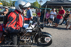 Byrne Bramwell riding his 1929 Henderson KJ crosses the finish during Stage 4 of the Motorcycle Cannonball Cross-Country Endurance Run, which on this day ran from Chatanooga to Clarksville, TN., USA. Monday, September 8, 2014.  Photography ©2014 Michael Lichter.