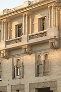 Architectural detail with windows and balconies in Casablanca, Morocco