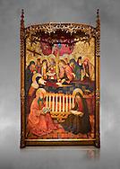 """Gothic painted panel of the Nativity scene by Taddeo Gabbi of Florence, circa 1325, tempera and gold leaf on wood. National Museum of Catalan Art, Barcelona, Spain, inv no: MNAC 212807. <br /> Taddeo Gabbi, one of Giotto's most brilliant disciples, painted this Nativity when he was still part of Giotto's workshop. The painting has many of Giotto's hallmarks such as  spatial illusionism or the reality of figures that can be seen in the nativity of the Peruzzi Chapel.<br /> <br /> SPANISH<br /> <br /> Taddeo Gabbi, uno de los discipulos mas brillantes de Giotto, debio pintar esta Natividad cuando aun formaba parte del taller del maestro. En ella se ven las conquistas de la """"revolucion giottesca"""", como el illusioismo espacial o el realismo de las figuras. Maria arropa a Jesus dentro del establo, mientras los sobrevuela un grupo de angeles. La posicion de uno de ellos y la presencia de una oveja indican que la composicion se completaba a la izquierda con el Anuncio a los pastores. En primer termino aparecen un pensativo Jose y las dos parteras que susurran, un recurso ya utilizado pr Giotto en los frescos de la Capilla Peruzzi. .<br /> <br /> If you prefer you can also buy from our ALAMY PHOTO LIBRARY  Collection visit : https://www.alamy.com/portfolio/paul-williams-funkystock/gothic-art-antiquities.html  Type -     MANAC    - into the LOWER SEARCH WITHIN GALLERY box. Refine search by adding background colour, place, museum etc<br /> <br /> Visit our MEDIEVAL GOTHIC ART PHOTO COLLECTIONS for more   photos  to download or buy as prints https://funkystock.photoshelter.com/gallery-collection/Medieval-Gothic-Art-Antiquities-Historic-Sites-Pictures-Images-of/C0000gZ8POl_DCqE"""