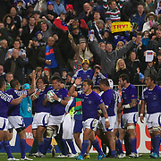 Samoa celebrate a try by George Stowers, during the South Africa V Samoa, Pool D match during the IRB Rugby World Cup tournament. North Harbour Stadium, Auckland, New Zealand, 30th September 2011. Photo Tim Clayton...