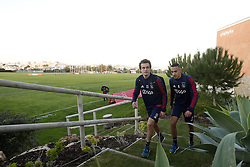 (L-R), Leon Bergsma of Ajax, Noussair Mazraoui of Ajax during a training session of Ajax Amsterdam at the Cascada Resort on January 08, 2018 in Lagos, Portugal