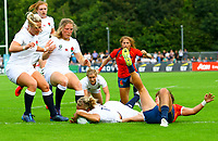 Rugby Union - 2017 Women's Rugby World Cup (WRWC) - Pool B: England vs. Spain<br /> <br /> England's Kay Wilson goes over for her third try, at The UCD Bowl, Dublin.<br /> <br /> COLORSPORT/KEN SUTTON
