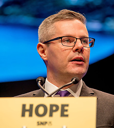 Pictured: SNP chairman and Finance Secretary Derek MacKay MSP delivered an emotional address to the conference in his last speech as Chairman.<br /> <br /> © Dave Johnston / EEm
