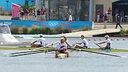 Eton Dorney, Windsor, Great Britain,..2012 London Olympic Regatta, Dorney Lake. Eton Rowing Centre, Berkshire.  Dorney Lake.  ..Men's Fours Medal's AUS M4- Silver Medalist, GBR M4- Gold Medalist and USA M4- Bronze Medalist...11:37:26  Saturday  04/08/2012 [Mandatory Credit: Peter Spurrier/Intersport Images]