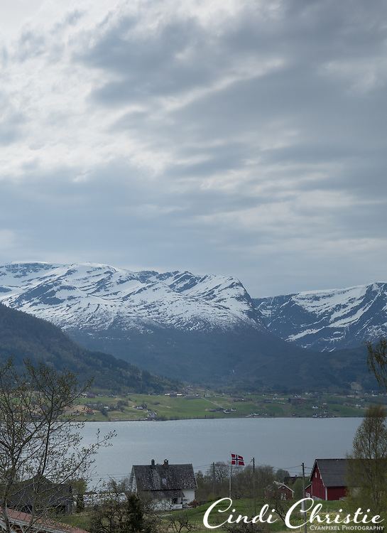 Sandane, Gloppen fjord and the mountains beyond are seen from the Austrheim school above Sandane, Norway, on May 17, 2013.  (© 2013 Cindi Christie)