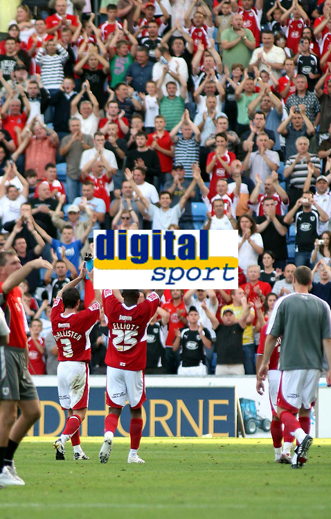 Photo: Mark Stephenson.<br /> Coventry City v Bristol City. Coca Cola Championship. 15/09/2007.Bristol's Jamie McAllister (L) and Marvin Elliott celebrate there win with the fans