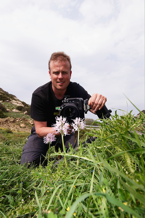 Peter Lilja photograps a Naked Man Orchid (Orchis italica), Kayalar, Northern Cyprus