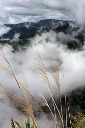 Misty mountainsides landscape.  Sayaboury Province. Lao PDR