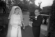 """16/09/1967<br /> 09/16/1967<br /> 16 September 1967<br /> Wedding of Mr Francis W. Moloney, 28 The Stiles Road, Clontarf and Ms Antoinette O'Carroll, """"Melrose"""", Leinster Road, Rathmines at Our Lady of Refuge Church, Rathmines, with reception in Colamore Hotel, Coliemore Road, Dalkey. Image shows the bride leaving home  by car before  the ceremony with her father Mr Dudley O'Carroll."""