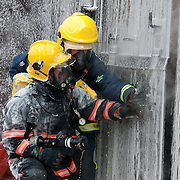 Fire fighters during traing exercise.