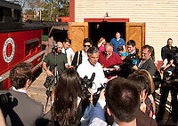 Republican Presidential candidate Jon Huntsman speaks at the Merrimack Valley Railroad station Monday afternoon.  (Karen Bobotas/for the Concord Monitor)