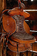 Saddle hanging in the Barn at the Line Ranch in Missoula Montana