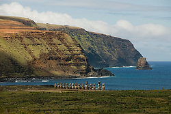 Chile, Easter Island: Ahu Tongariki, site where 50 sculptures or moai are placed on a platform or ahu.  This is the largest array of moai on Easter Island..Photo #: ch266-32696.Photo copyright Lee Foster www.fostertravel.com lee@fostertravel.com 510-549-2202