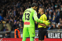 January 27, 2019 - Barcelona, BARCELONA, Spain - Diego Lopez of Espanyol and referee in action during La Liga Spanish championship, , football match between Espanyol and Real Madrid,  January 27th, in RCDE Stadium in Barcelona, Spain. (Credit Image: © AFP7 via ZUMA Wire)