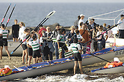 San Remo, ITALY,  Sat.  W4X+,  crews celebrate after the final . at the FISA Coastal World Championships. Saturday 18/10/2008.[Photo, Peter Spurrier/Intersport-images] Coastal Rowing Course: San Remo Beach, San Remo, ITALY Equipment
