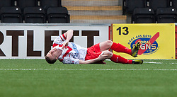 Airdrie United's John Boyle injured and is stretchered off..Airdrie United 0 v 1 Falkirk, 30/3/2013..©Michael Schofield..