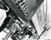 """1936 Filming """"Hollywood Boulevard"""" in front of Sardi's Restaurant"""