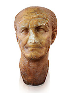 Roman sculpture of the Emperor Vespesien, excavated  from Althiburos sculpted circa  69-79AD. The Bardo National Museum, Tunis, Inv No: C.1025.  Against a white background. .<br /> <br /> If you prefer to buy from our ALAMY STOCK LIBRARY page at https://www.alamy.com/portfolio/paul-williams-funkystock/greco-roman-sculptures.html . Type -    BARDO    - into LOWER SEARCH WITHIN GALLERY box - Refine search by adding a subject, place, background colour, museum etc.<br /> <br /> Visit our CLASSICAL WORLD HISTORIC SITES PHOTO COLLECTIONS for more photos to download or buy as wall art prints https://funkystock.photoshelter.com/gallery-collection/The-Romans-Art-Artefacts-Antiquities-Historic-Sites-Pictures-Images/C0000r2uLJJo9_s0c