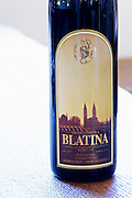 Bottle of Medugorska Blatina red wine 1995. Label detail. Podrum Vinoteka Sivric winery, Citluk, near Mostar. Federation Bosne i Hercegovine. Bosnia Herzegovina, Europe.