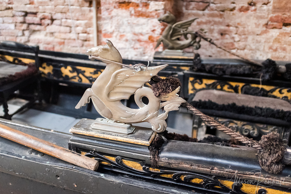 Detail of a gondola on display at the Museo Storico Navale di Venezia, in Venice, Italy