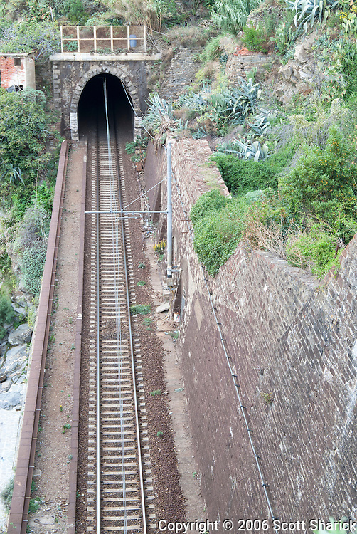 The trains run along the side of the mountains in the Cinques Terre region of Italy.