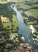 Henley. Berks, United Kingdom. <br /> <br /> Aerial Image of the  Henley Regatta Course while the 2017 Henley' Women's Regatta. taking place Rowing on, Henley Reach. River Thames. <br /> <br /> <br /> Friday  16/06/2017<br /> <br /> <br /> [Mandatory Credit. Intersport Images]