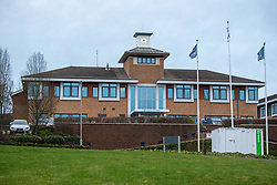 © Licensed to London News Pictures. 08/02/2020. Milton Keynes, UK. Kents Hill Park Training and Conference Centre with a portacabin placed at the entrance. A Milton Keynes conference centre is to house evacuees from the Chinese city of Wuhan, the epicentre of the Novel Coronavirus (2019-nCoV) outbreak, the British citizens are due to be flown back on Sunday 9th February and are expected to land at RAF Brize Norton in Oxfordshire and will remain at the Kents Hill Park Training and Conference Centre for 14 days to be monitored. Photo credit: Peter Manning/LNP