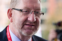 © Licensed to London News Pictures. 02/10/2012. Manchester, UK . Len McCluskey , General Secretary of the British and Irish union Unite , outside the conference venue . Labour Party Conference Day 3 at Manchester Central . Photo credit : Joel Goodman/LNP
