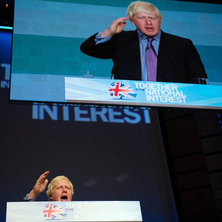 London Mayor Boris Johnson addresses delegates on the second day of the Conservatives Party Conference at the ICC, Birmingham, UK on October 4, 2010.  This is the first conference since the government coalition with the Liberal Democrats.