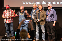 Frenky and Stephano of PDF Motociclette of Bergamo, Italy at the AMD World Championship of Custom Bike Building awards ceremony in the Intermot Customized hall during the Intermot International Motorcycle Fair. Cologne, Germany. Sunday October 7, 2018. Photography ©2018 Michael Lichter.