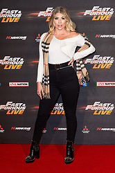 © Licensed to London News Pictures. 19/01/2018. London, UK. OLIVIA BUCKLAND attends the world premiere of Fast & Furious live show at the O2.  Cars will perform stunts and scenes capturing the spirit of the film series. Photo credit: Ray Tang/LNP