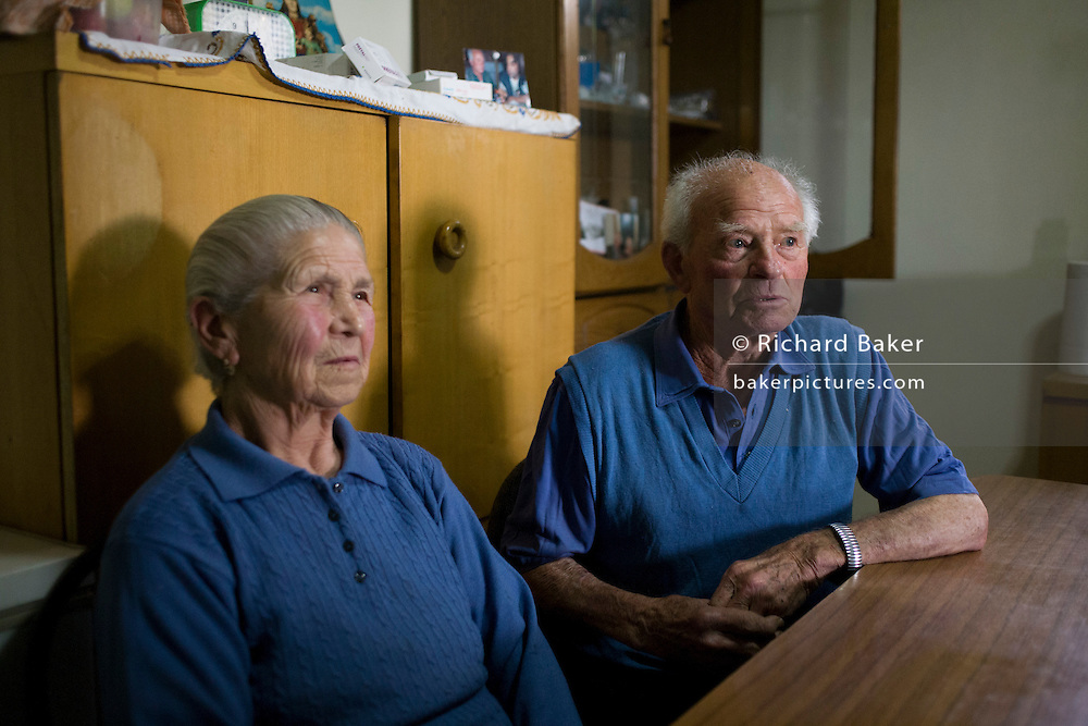 Baldassare and Felicia De Simons, in their kitchen in the village of Somma Vesuviana, in the Red (evacuation) Zone on the western slope of Vesuvius which last erupted in 1945.