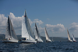 Final days' racing at the Silvers Marine Scottish Series 2016, the largest sailing event in Scotland organised by the  Clyde Cruising Club<br /> <br /> Racing on Loch Fyne from 27th-30th May 2016<br /> <br /> Class 8, Start,  with Argento, Jochr, Celtic Spirit, Slippi Jin<br /> <br /> Credit : Marc Turner / CCC<br /> For further information contact<br /> Iain Hurrel<br /> Mobile : 07766 116451<br /> Email : info@marine.blast.com<br /> <br /> For a full list of Silvers Marine Scottish Series sponsors visit http://www.clyde.org/scottish-series/sponsors/