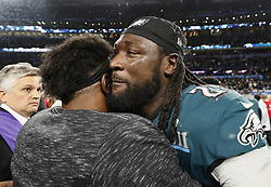 February 4, 2018 - Minneapolis, MN, USA - Philadelphia Eagles running back LeGarrette Blount is emotional after his team defeated the New England Patriots in Super Bowl LII on Sunday, Feb. 4, 2018, in Minneapolis, Minn. Blount played with the Patriots last year in Super Bowl LI. He scored a touchdown on Sunday in the second quarter. (Credit Image: © Carlos Gonzalez/TNS via ZUMA Wire)